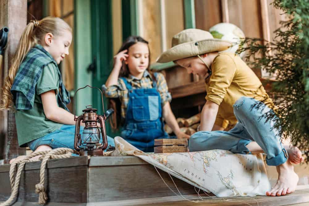 A team of kids on a treasure hunt.