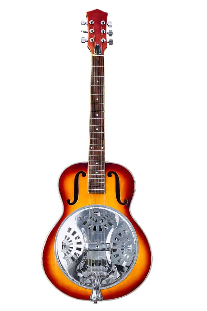 This is a close look at the classic resonator guitar.