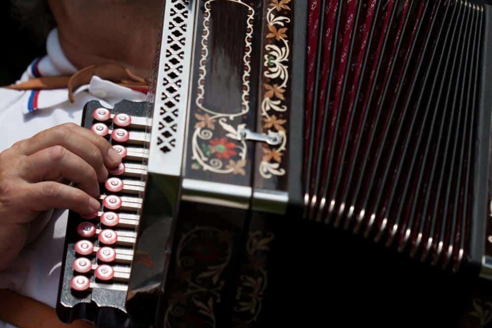 Musician playing accordion.