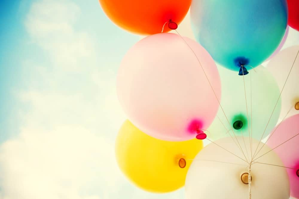 A cluster of colorful balloons