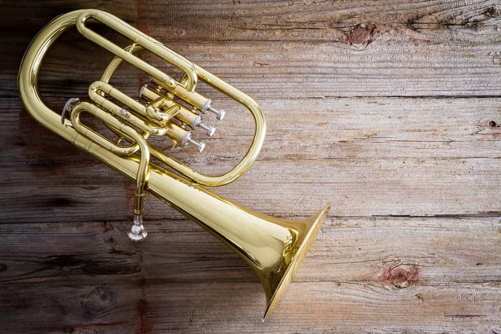 Baritone horn on wooden background.