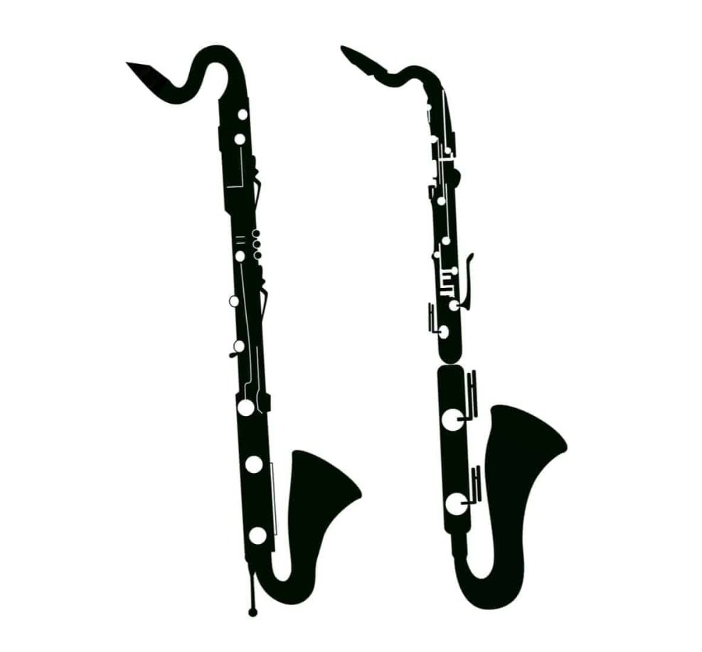 Black and white bass saxophone