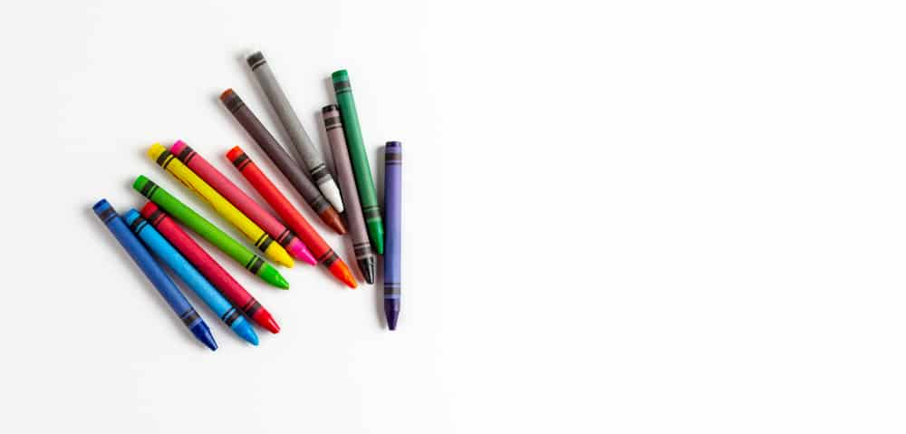 Multi-colored wax crayons