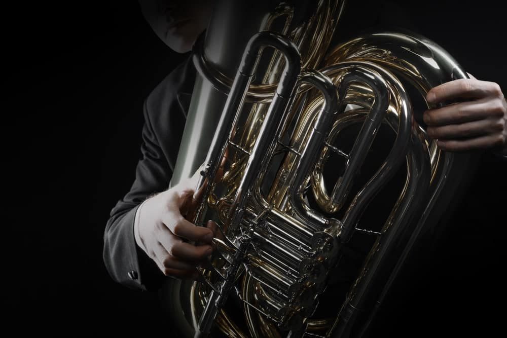Musician holding an euphonium.