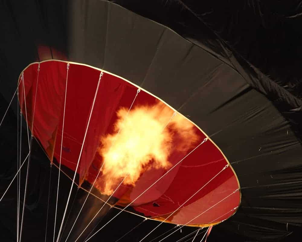 Interior peek of a hot air balloon.