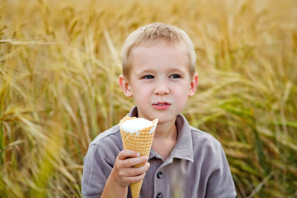 Boy eating an ice cream cone in a wheat field.