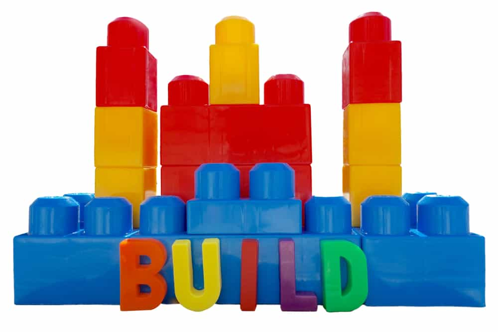 Mega building blocks with the word build spelled out.
