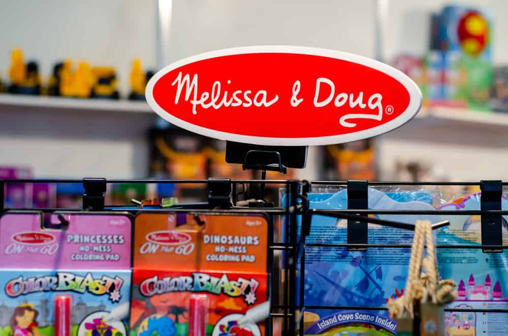 Melissa and Doug toys inside the store.