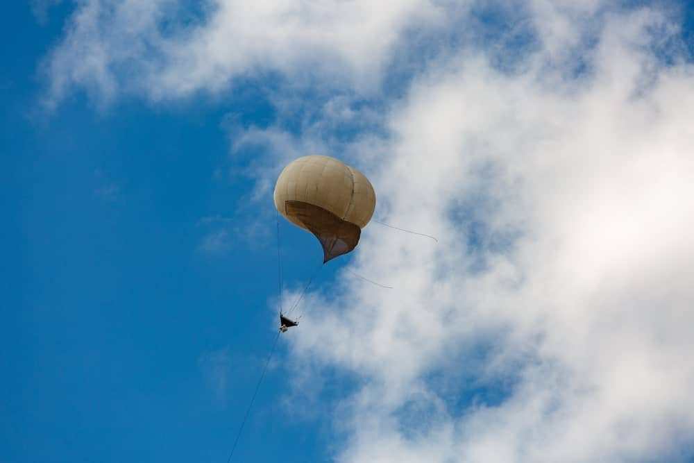 Observation balloon in the sky.