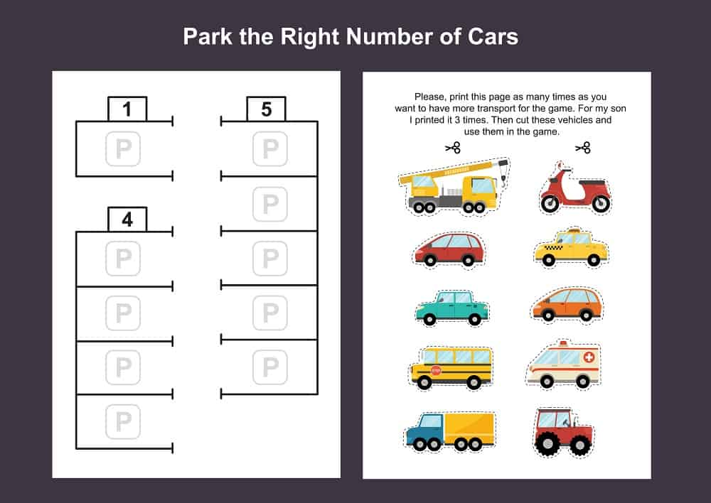 Car parking lot printable game template for kids.