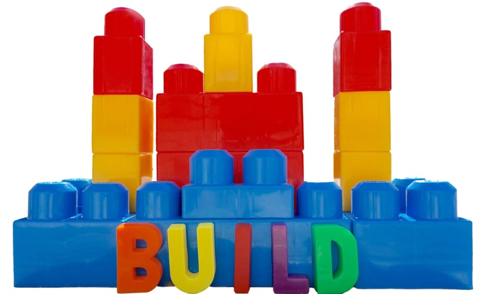 This is a close look at the colorful building blocks toys.