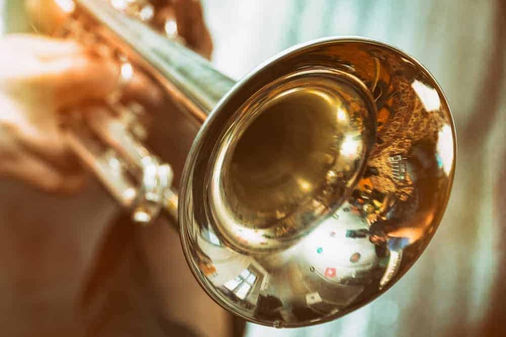 Close-up of brass trumpet.