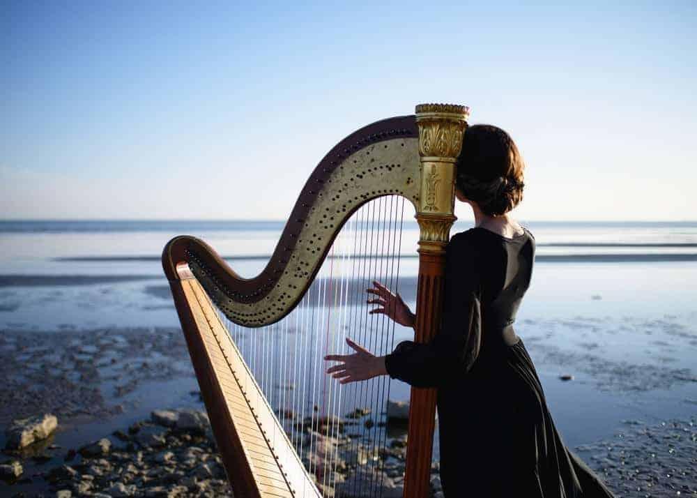 Woman playing harp near the sea.