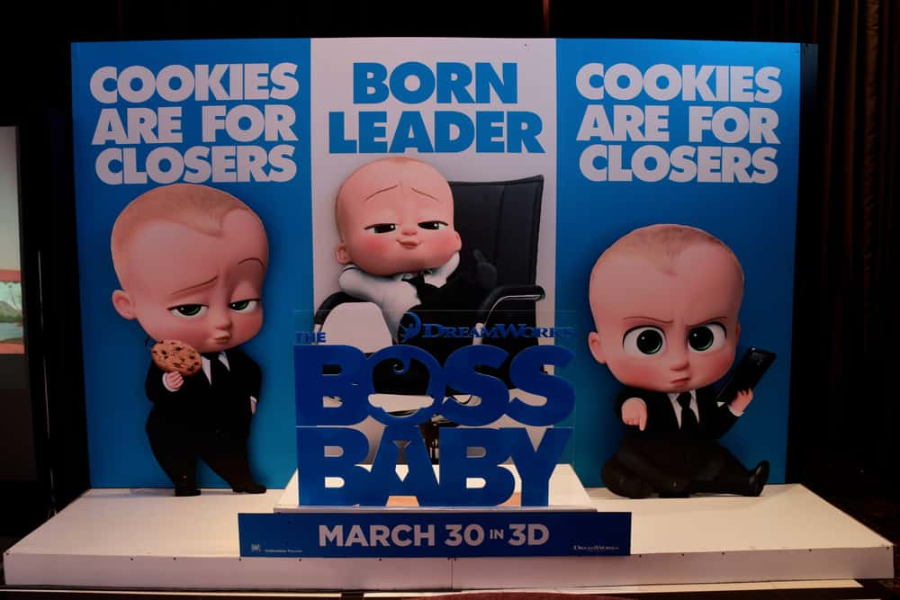 This is a close look at the Boss Baby movie poster outside the cinema.