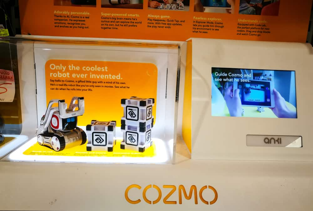 A display of the interactive toy Cozmo in a convention.