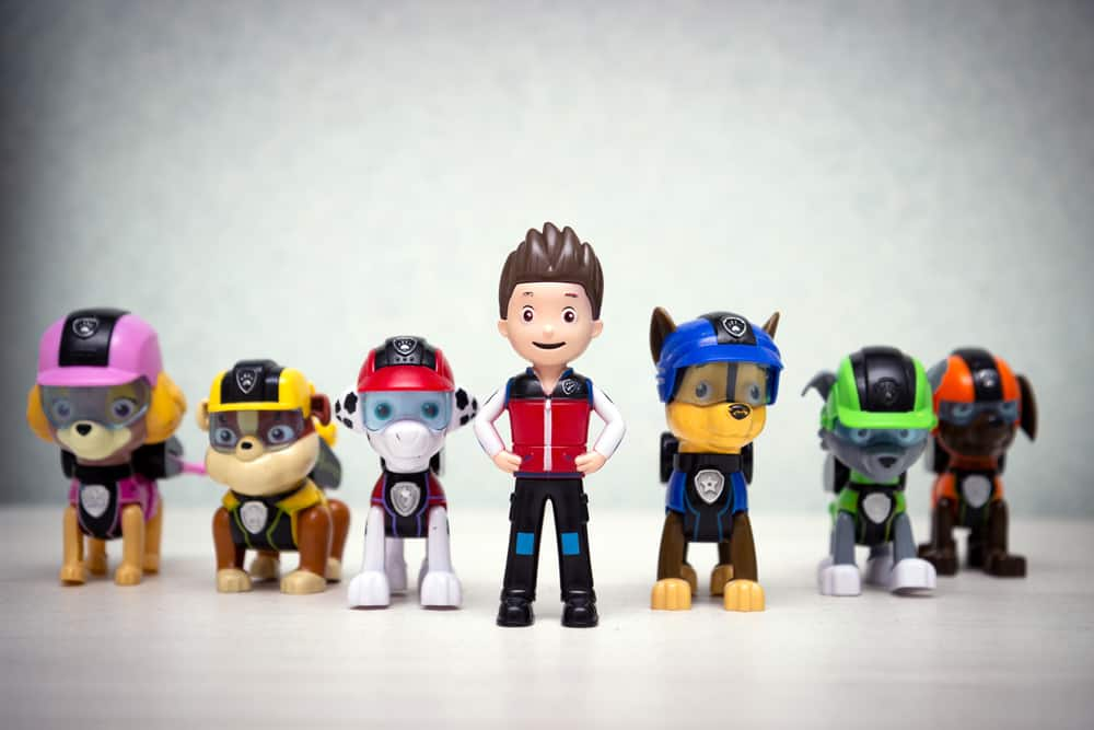 This is a close look at Paw Patrol action figures.
