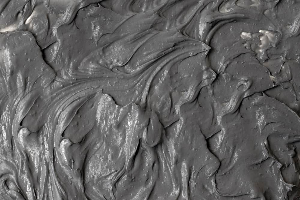 This is a close look at dark gray clean mud.