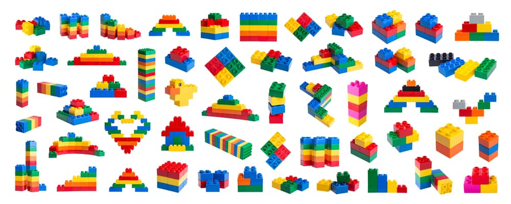 A close look at colorful pieces of Lego.