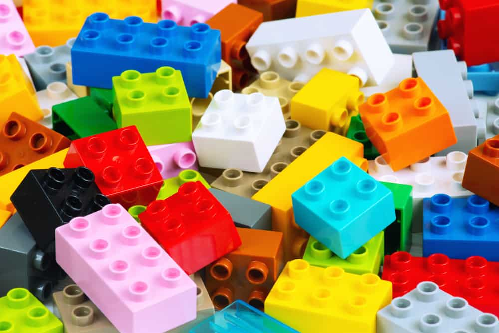 This is a close look at colorful Lego Duplo bricks.