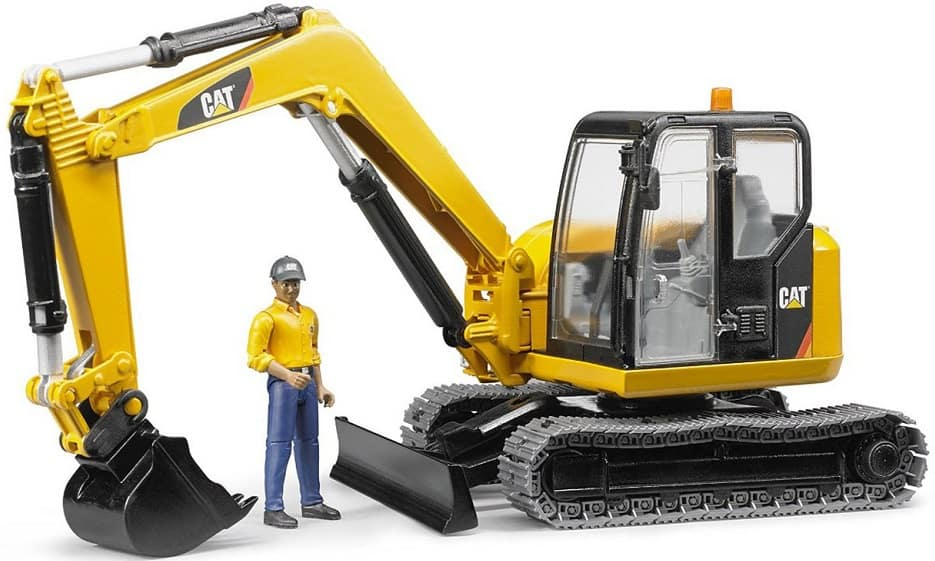 The Bruder Toys Caterpillar Mini Excavator with Working Arm and Worker from Walmart.