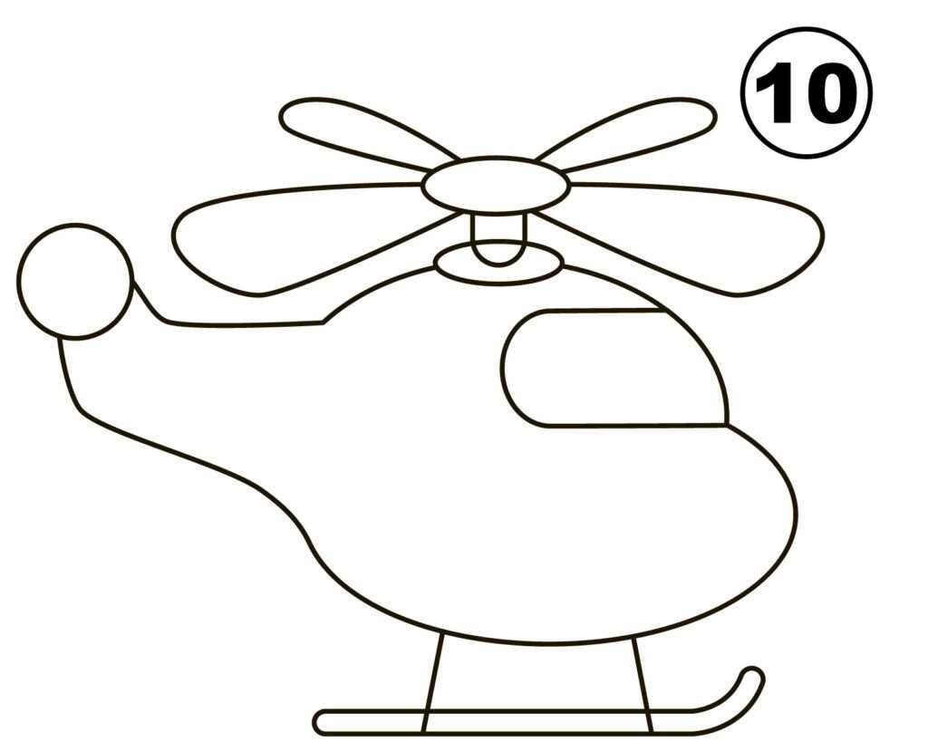 Step 10 for drawing helicopter