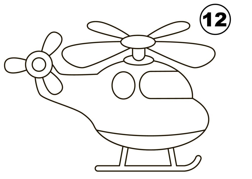 Step 12 for drawing helicopter