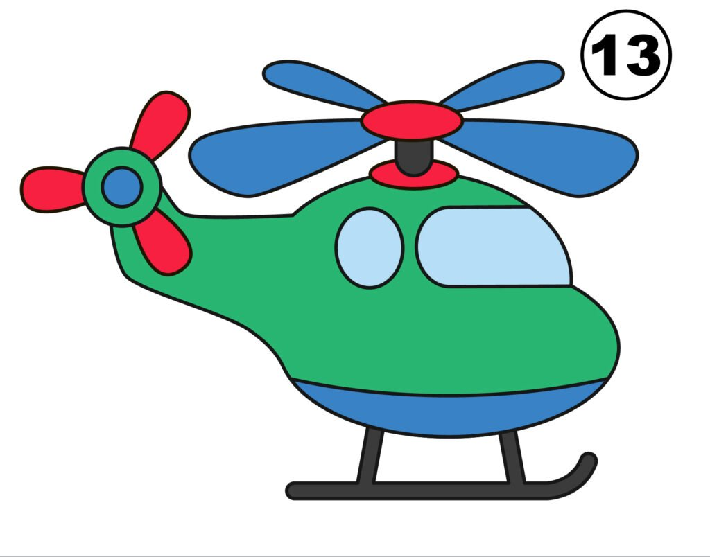 Final helicopter drawing a result of tutorial (for kids)