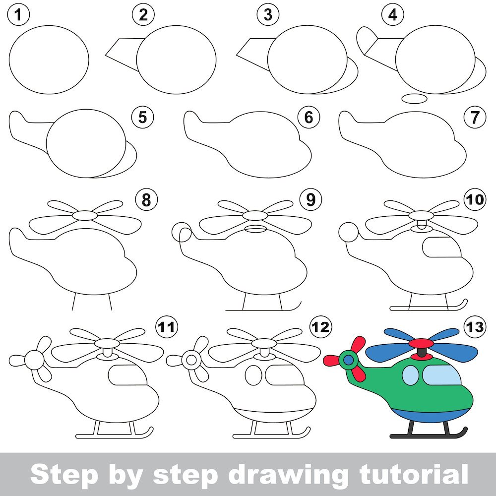 Full tutorial for how to draw a helicopter in 12 steps for kids