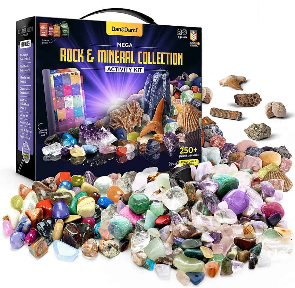 Dan&Darci Mega Rock, Fossil & Mineral Collection & Activity Kit. Rough Rocks, Polished Gems, Genuine Fossils & Real Minerals - Science Gift for Kids - Includes 250+ Real Specimens & Jumbo Learning Mat