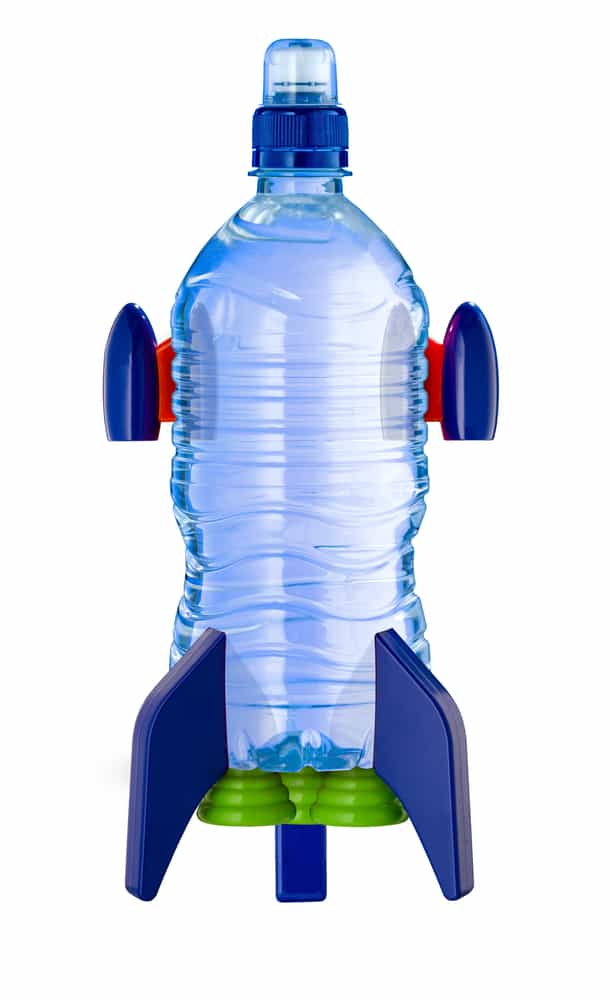 Space rocket made from a water bottle.